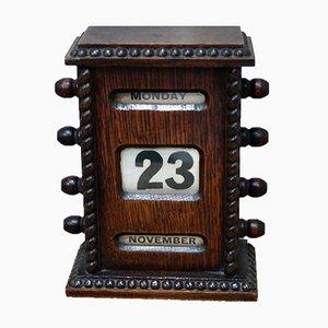 Calendario perpetuo de escritorio victoriano de caoba