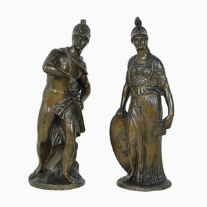 Athena Ares Bronze Sculptures, Set of 2