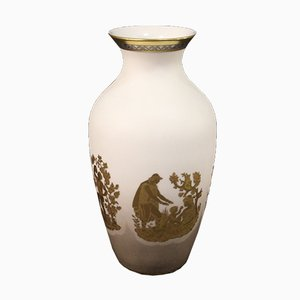 Italian Vase In Glazed, Silver and Gilded Ceramic