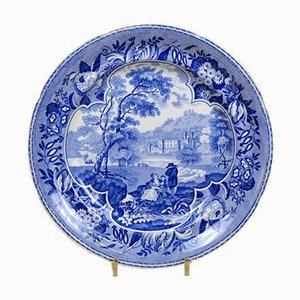 English Blue and White Dinner Plate with Bucolic Scene from CR, 1830s