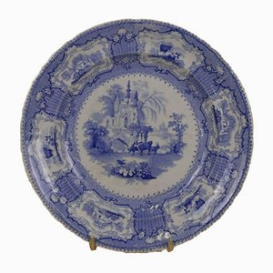 English Blue and White Earthenware Dinner Plate from Arcadia, 1840s