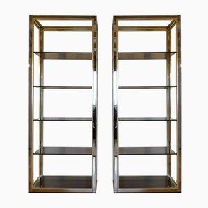 Shelves in Chromed Steel and Brass by Renato Zevi, 1970s, Set of 2