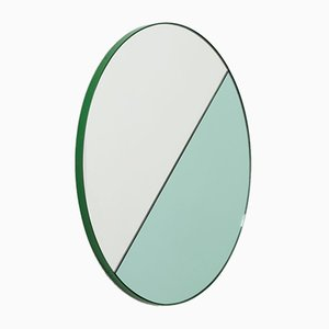 Orbis Dualis™ Green & Silver Mixed Tint Large Round Mirror with Green Frame by Alguacil & Perkoff Ltd
