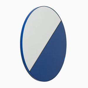 Orbis Dualis™ Blue and Silver Mixed Tint Oversized Round Mirror with Blue Frame by Alguacil & Perkoff Ltd