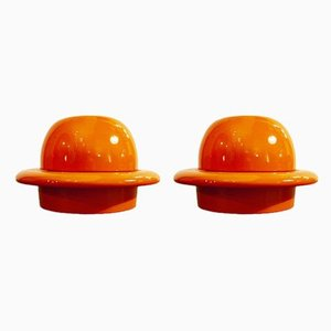 Vasi arancioni di Ambrogio Pozzi per Sic, anni '70, set di 2