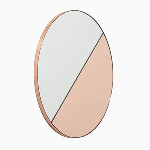 Orbis Dualis™ Rose Gold & Silver Mixed Tint Round Regular Mirror with Copper Frame by Alguacil & Perkoff Ltd