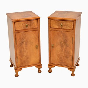 Antique Walnut Bedside Cabinets, 1930s, Set of 2