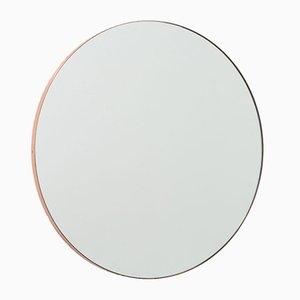 Orbis™ Large Round Modern Mirror with Copper Frame by Alguacil & Perkoff Ltd