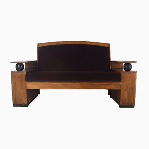 Art Deco Sofa in Teak and Fabric