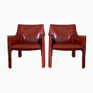 Dark Red Cab 414 Armchairs by Mario Bellini for Cassina, Set of 2