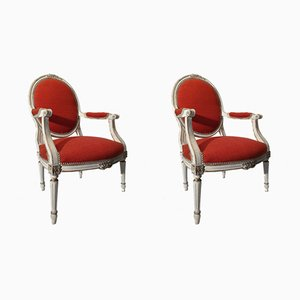 Louis XVI Medallion Back Wood Armchairs, Set of 2