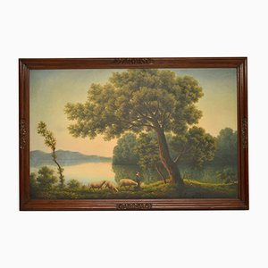 Large Antique Oil Painting with Mahogany Frame