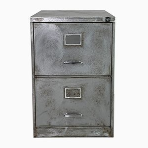 Mid-Century Stripped and Polished Steel Filing Cabinet with Two Drawers