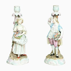 Antique Polychrome & Porcelain Candleholders, Set of 2