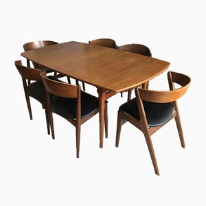 Scandinavian Teak Dining Table & Chairs Set, 1960s, Set of 8