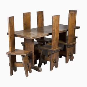 Arts & Crafts Oak Refectory Table & Chairs, Set of 7