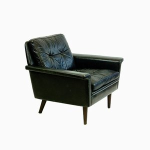 Scandinavian Vintage Black Leather and Rosewood Lounge Chair
