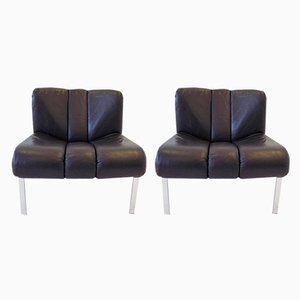 Black Leather Lounge Chairs from Girsberger, 1970s, Set of 2