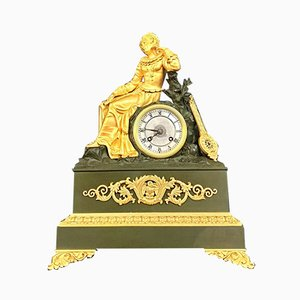 Empire Gilt Bronze Patinated Clock