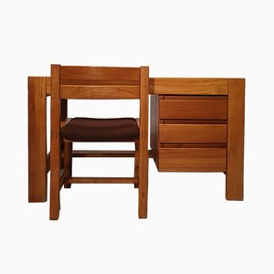 Brutalist Elm Desk & Chair from Maison Regain, 1960s, Set of 2