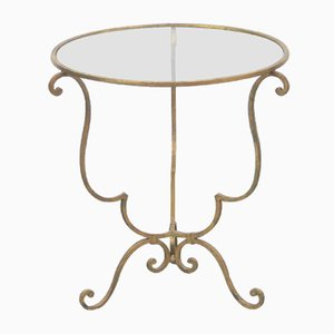 French Gilded Iron Side Table