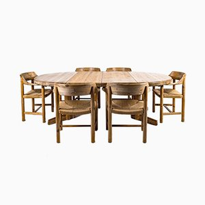 Danish Dining Table & Chairs Set by Rainer Daumiller, 1970s, Set of 7