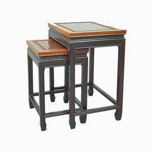 Vintage Chinese Hardwood Nesting Tables from George Zee & Co., 1960s, Set of 2