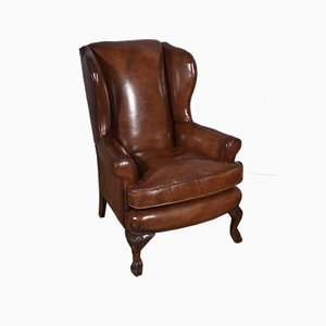 Antique English Leather Wing Chair