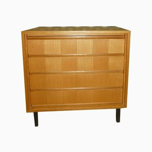 Mid-Century Gold Elm & Black Tubular Steel Chest of Drawers from IDEE Möbel