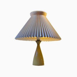 Honey Yellow Cased Glass Table Lamp by Jacob E. Bang for Kastrup, 1950s
