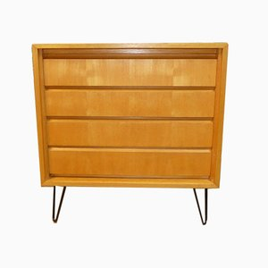 Mid-Century Gold Elm Chest of Drawers with Hairpin Legs from IDEE Möbel