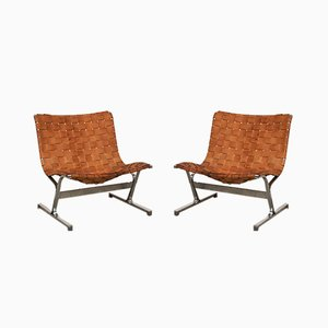 Leather PLR1 Lounge Chairs by Ross Littell for ICF De Padova, 1970s, Set of 2