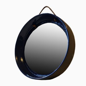 Blue Danish Ceramic Wall Mirror With Leather Strap by Helge Engelbrecht for HE, 1970s
