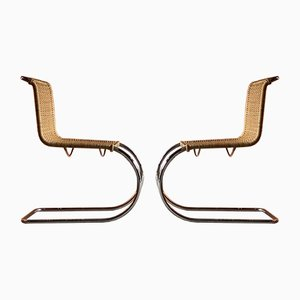 Rattan MR10 Dining Chairs by Ludwig Mies van der Rohe for Knoll Inc. / Knoll International, 1970s, Set of 2
