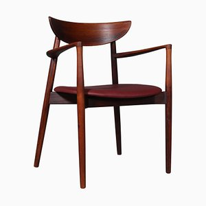 Danish Rosewood, Teak & Leather Armchair by Harry Østergaard, 1960s