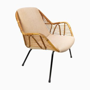 Danish Light Fabric & Wood Armchair, 1950s