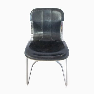 Black Leather & Chrome N2 Chair from Willy Rizzo, 1970s
