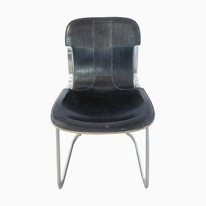 Black Leather & Chrome N3 Chair from Willy Rizzo, 1970s