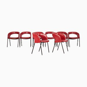 Red Skai Dining Chairs by Gastone Rinaldi, 1950s, Set of 8