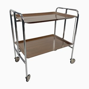Vintage Chrome and Laminated Wood Folding Serving Trolley, 1950s
