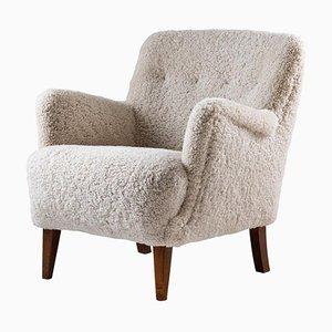 Mid-Century Danish Sheepskin Lounge Chair, 1940s