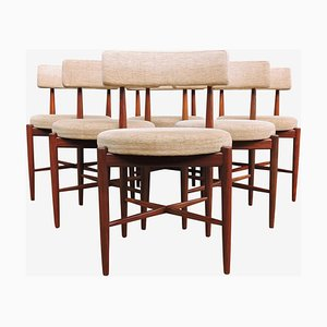 Mid-Century Teak and Cream Fabric Dining Chairs from G-Plan, Set of 6