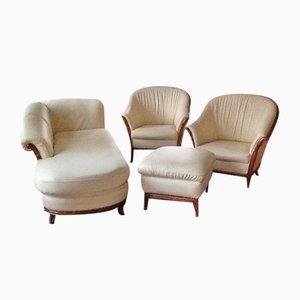 Juego de sofás de cuero en color crema de Nieri