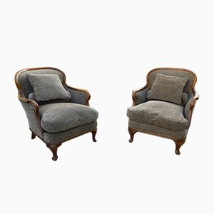 Vintage English Chippendale Armchairs, 1960s, Set of 2