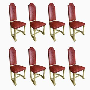 Vintage High Back Chairs, Set of 10