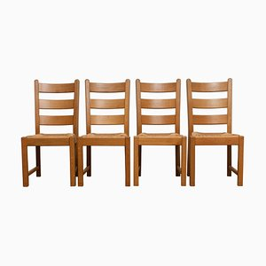 Dutch Oak Ladder Back Dining Chairs with Wicker Seat, 1978, Set of 2