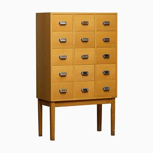 Oak Drawer Filing Cabinet in Oak and Beech from Lövgrens Traryd, Sweden, 1970s