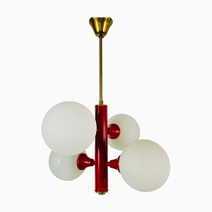 Mid-Century Space Age Red 4-Arm Chandelier from Kaiser Leuchten, Germany, 1960s
