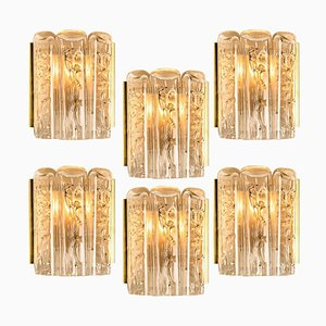 Structured Blown Glass and Brass Sconce from Doria Leuchten Germany, 1960s