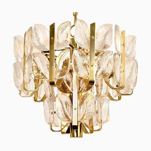 Crystal Glass and Brass Florida Chandelier or Pendant Lamp by J.T. Kalmar, 1960s
